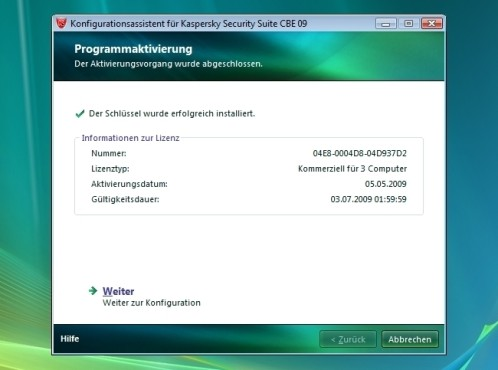 Programmaktivierung: Kaspersky Security Suite CBE 09
