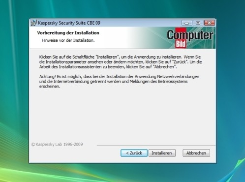 Vollständige Installation: Kaspersky Security Suite CBE 09