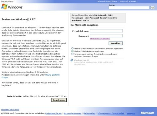 Windows 7 in VirtualBox: Microsoft-ID © COMPUTER BILD