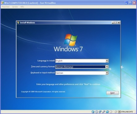 Windows 7 in VirtualBox: Sprache und Tastaturbelegung © COMPUTER BILD