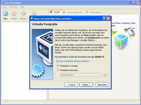 Windows 7 in VirtualBox: Virtuelle Festplatte © COMPUTER BILD