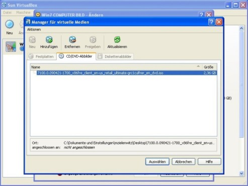 Windows 7 in VirtualBox: Virtuelle Medien einbetten © COMPUTER BILD