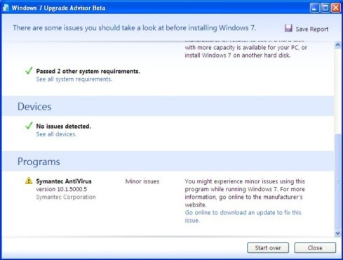 Windows 7 Upgrade Advisor: Zusammenfassung