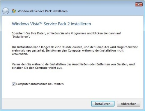 Windows Vista SP2: Beginn