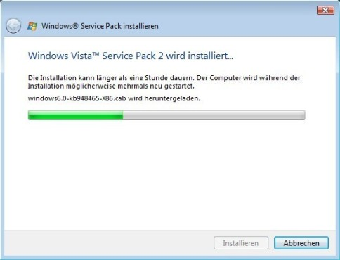 Windows Vista SP2: Entpacken