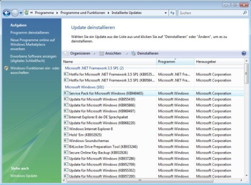 Windows Vista SP2: Installierte Updates
