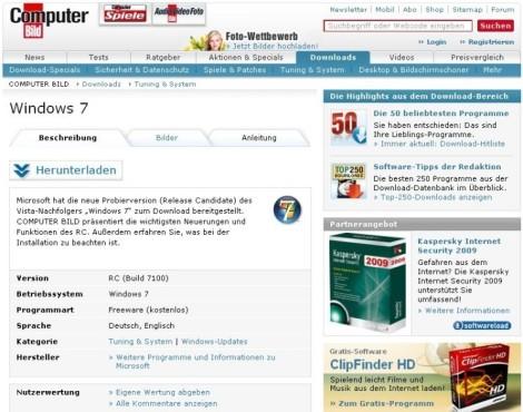 Windows 7 auf Netbooks: Windows 7 RC herunterladen ©COMPUTER BILD
