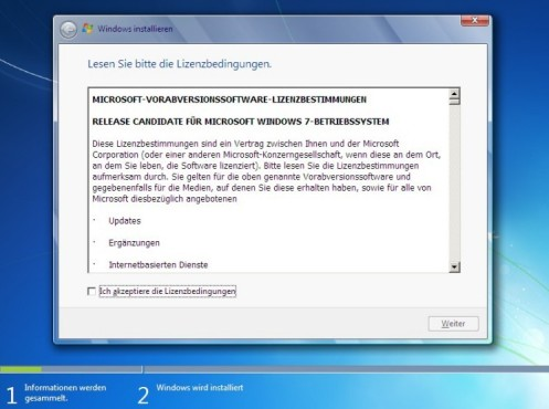 Windows 7 Installation: Lizenz
