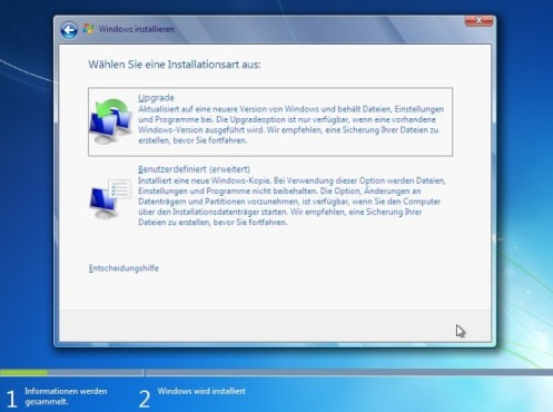 Windows 7 Installation: Option
