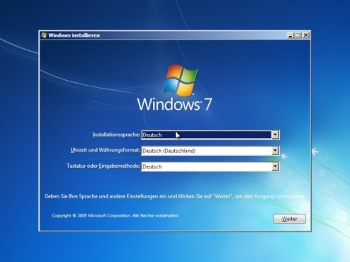 Windows 7 Installation: Sprache