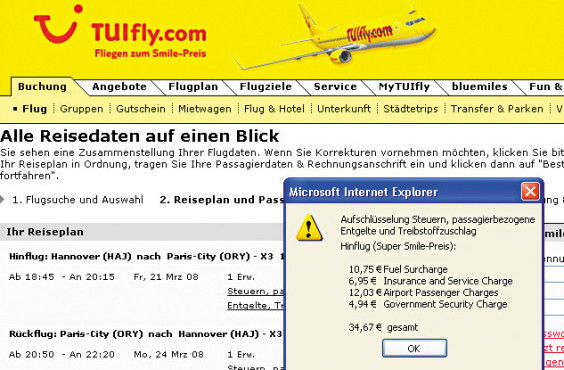 Screenshot: tuifly.de