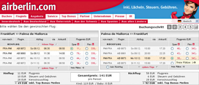 Screenshot: www.airberlin.com