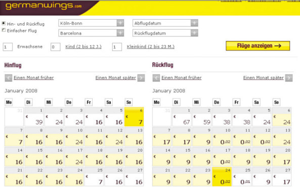 Screenshot: www.germanwings.com