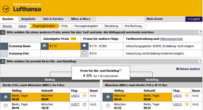 Screenshot: www.lufthansa.com