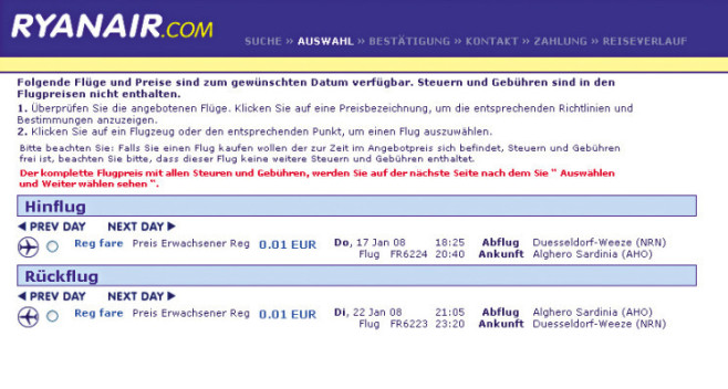 Screenshot: www.ryanair.de