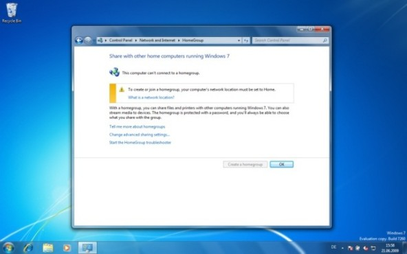 Windows 7: HomeGroup einrichten