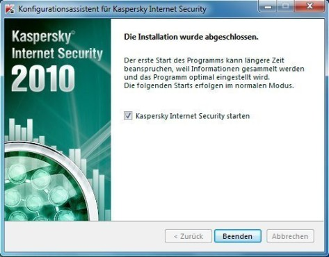 Kaspersky Internet Security 2010: Starten