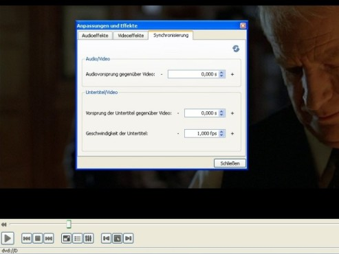 VLC Media Player: Synchronisierung