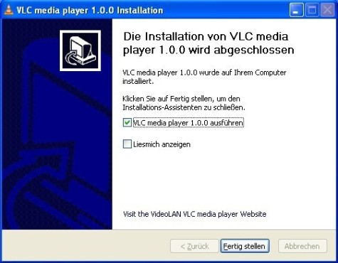 VLC Media Player: Fertig