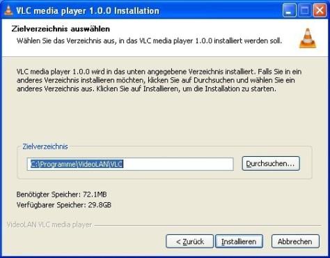 VLC Media Player: Pfad