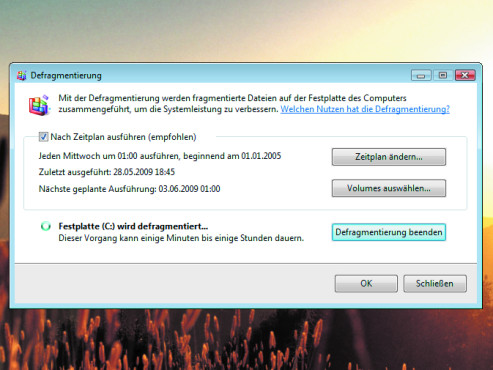 Microsoft Windows-Vista-Defragmentierfunktion