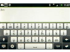 HTC Hero Im Querformat: Die Schreibtasten des Hero.