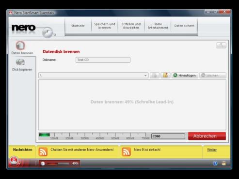 Dateien auf CDs und DVDs brennen: Nero 9 Free Version
