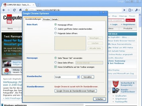 Google Chrome 3 Einstellungen