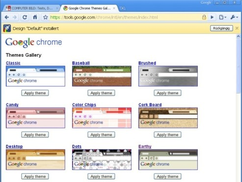 Google Chrome 3 Themes