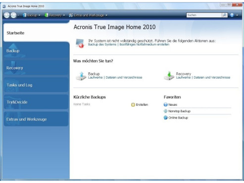 Testversionen Datensicherungs- und Synchronisierungs-Programme: Acronis True Image Home 2010