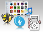 Apple ohne iTunes: Alternativ-Software (Logos) © Apple, SharePod, Floola, MediaMonkey
