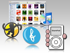Apple ohne iTunes: Alternativ-Software (Logos)&nbsp;&copy;&nbsp;Apple, SharePod, Floola, MediaMonkey