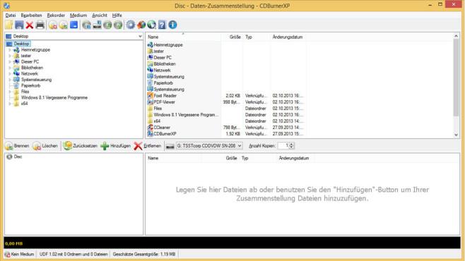 CDBurnerXP: Daten auf CD/DVD brennen ©COMPUTER BILD