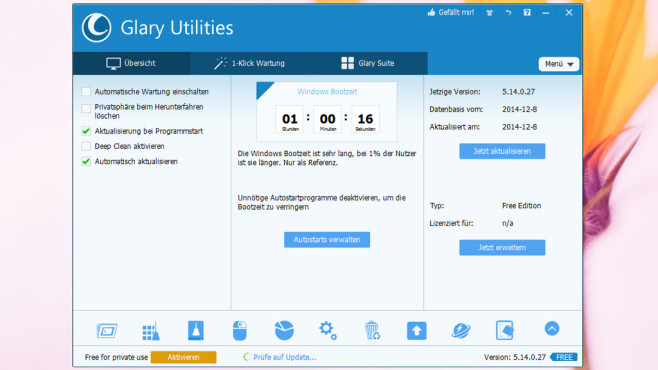 Glary Utilities: Windows optimieren © COMPUTER BILD