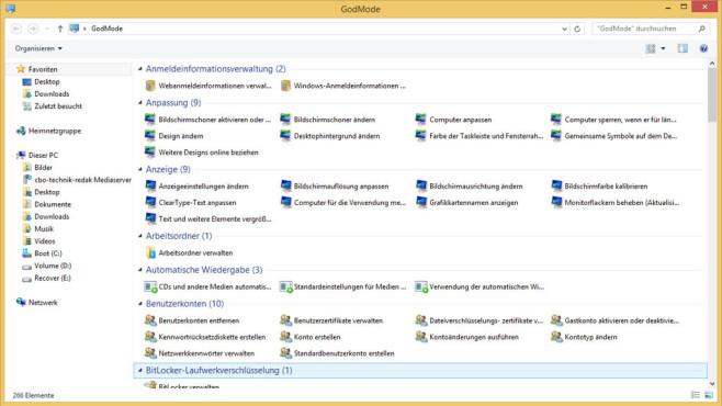 GodModus: Zugriff auf alle Windows-Einstellungen ©COMPUTER BILD