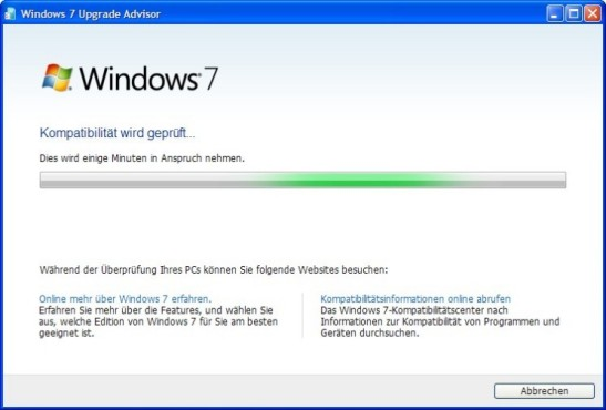 Windows 7 Upgrade Advisor: Kompatibilitätsprüfung