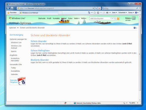 Ein sicheres Team: Windows Live Hotmail im Internet Explorer 8