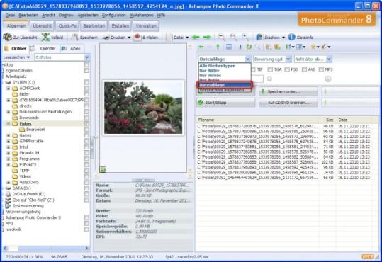 Ashampoo Photo Commander: Dateien in der Zwischenablage verwenden und filtern
