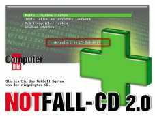COMPUTER BILD-Notfall-CD: Notfall-System �ber das Hauptmen� starten