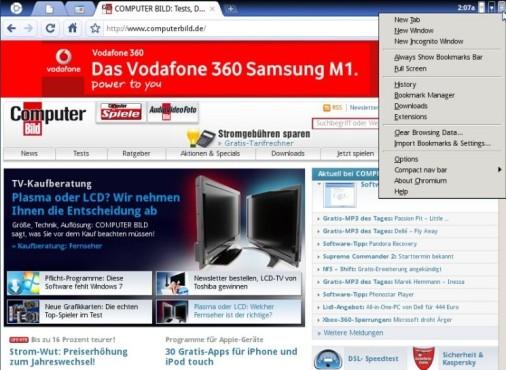 Chrome OS: So sieht das Google-Betriebssystem aus Google Chrome OS: Menü rechts