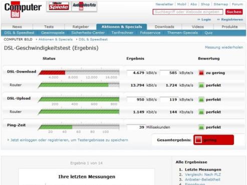 Erweiterter DSL-Speedtest von COMPUTER BILD ©Screenshot
