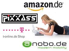 Die besten Internet-Shops ©Franz Pfluegl - Fotolia.com, pixxass, amazon.de, t-online.de, nobo.de