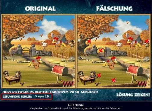 Moorhuhn-Homepage: Original und Fälschung