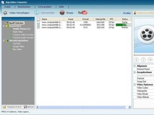 Any Video Converter Free: Kostenlos Videos umwandeln © COMPUTER BILD