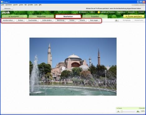 Picasa: Bearbeitungsfunktionen nutzen