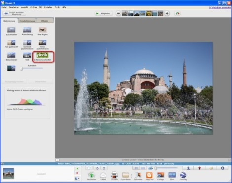 Picasa: Bilder im Internet bearbeiten