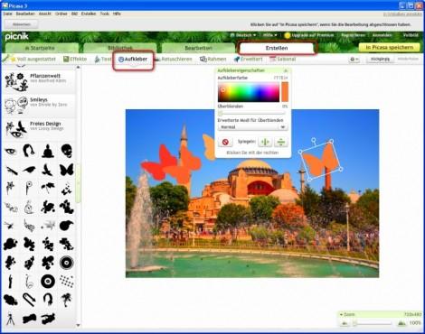 Picasa: Objekte in Fotos integrieren