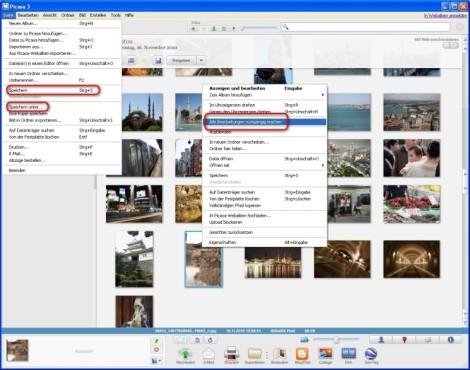 Picasa: Änderungen speichern oder rückgängig machen