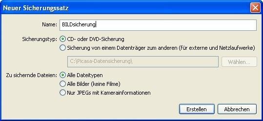 Picasa: Backup benennen und zu sichernde Dateitypen festlegen