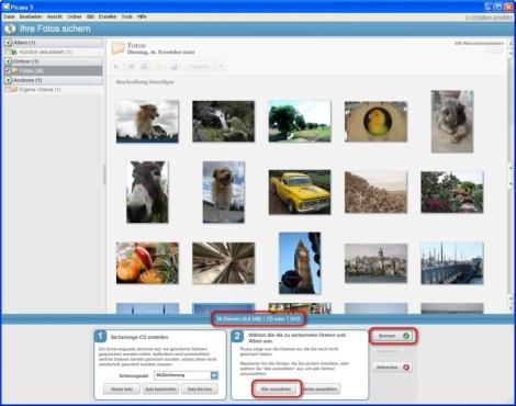 Picasa: Bilder für das Backup auswählen